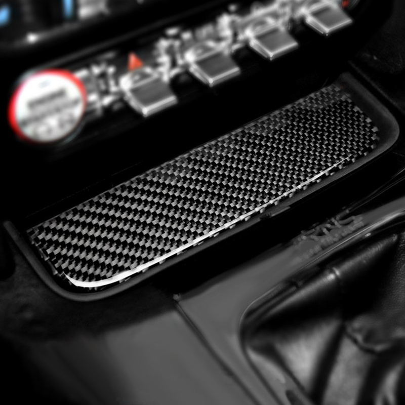 Interior Real Carbon Fiber Water Cup Holder Pad Mat Panel Cover Trim Decor <font><b>Accessories</b></font> for Ford <font><b>Mustang</b></font> <font><b>2015</b></font> 2016 2017 2018 2019 image