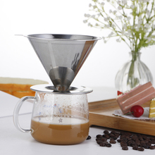 Stainless Steel Coffee Filter Reusable Dripper Tea Strainer Filte Accessories with Cup Stand Cone