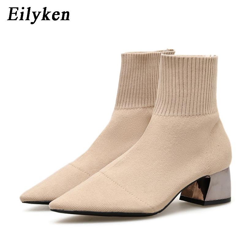 EilyKen 2021 Autumn Winter Knitted Stretch Fabric Socks Women Boots Low heel Short Boots Gray PointedToe Women Ankle Boots
