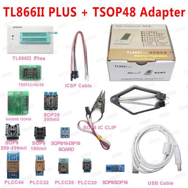 XGECU 100% Original Minipro TL866ii PLUS USB 프로그래머 + TSOP48 NAND 어댑터가있는 13 어댑터 TL866ii 범용 Bios 프로그래머