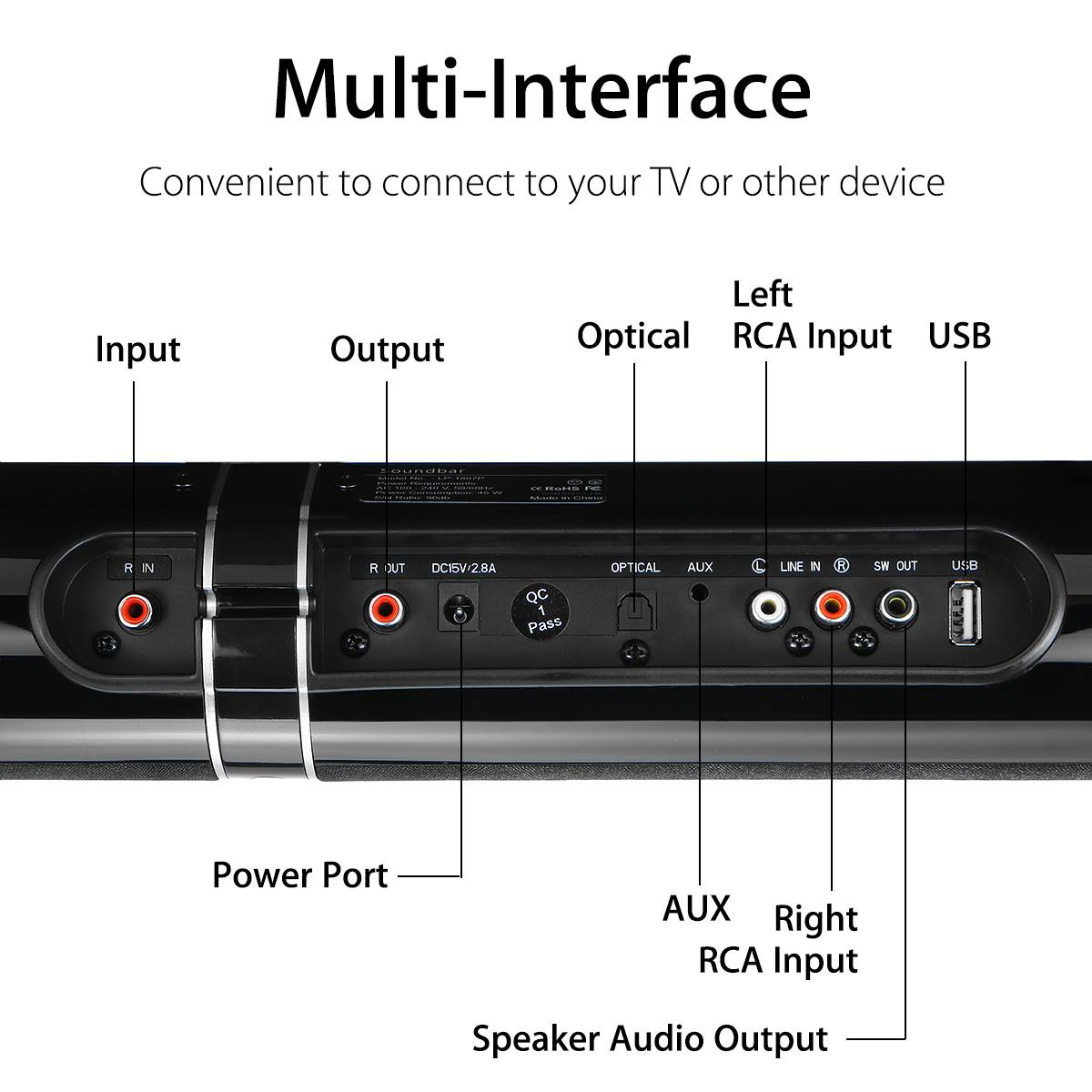 """45W 80cm 31.5"""" Soundbar with Subwoofer HiFi Detachable Wireless bluetooth Speaker 3D Surround Stereo  for TV Home Theatre System 2"""