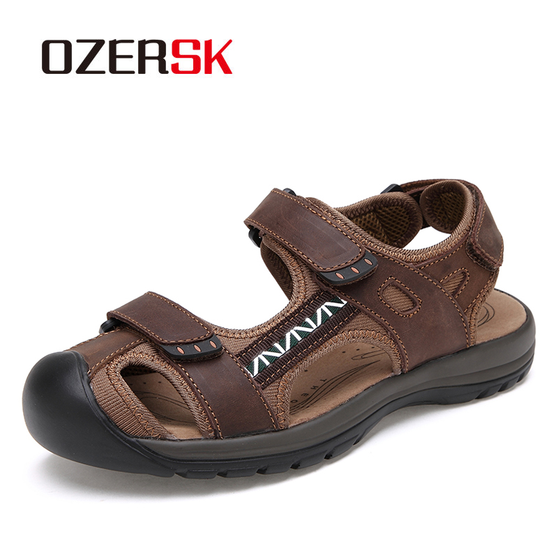 OZERSK Hot Sale Summer Genuine Leather Men's Beach Shoes Sandals Outdoor Shoes Fashion Men Casual Shoe Flip Flops Size 38~45