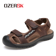 OZERSK Hot Sale Summer Genuine Leather Mens Beach Shoes Sandals Outdoor Shoes Fashion Men Casual Shoe Flip Flops Size 38~45