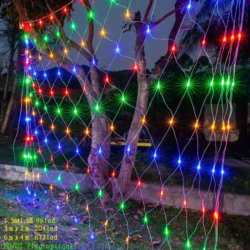 2x2M 3x2M 6x4M Led Net Mesh String Light Christmas Window Curtain Fairy Light New Year Wedding Party Holiday Garden Decor Light