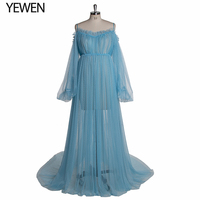 Dot Lace Baby Blue Maternity Dress Sheer Gown For Photo Shoot Photo Props Designer Pregnancy Dress Plus Size YEWEN