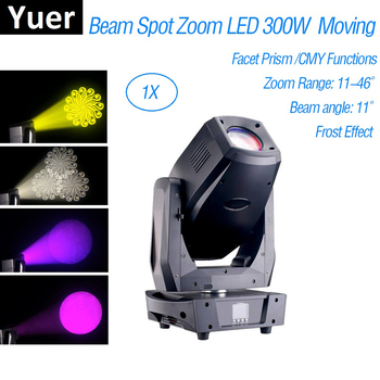 Beam Spot Zoom LED 300W Moving Head Light 3 Facet Prism Rotation Gobo Lyre LED Moving Head Disco Stage Light CMY Function Party roccer 15r 300w 90% brightness of sirius hri 300w e21 8 cup for beam 300 moving head