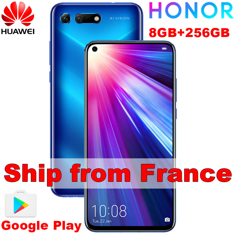 Original Honor V20 View 20 Smartphone Global Version PCT L29 8GB 256GB Android9 6.4 Inch 4000mAh CellPhone Kirin 980 Google Play
