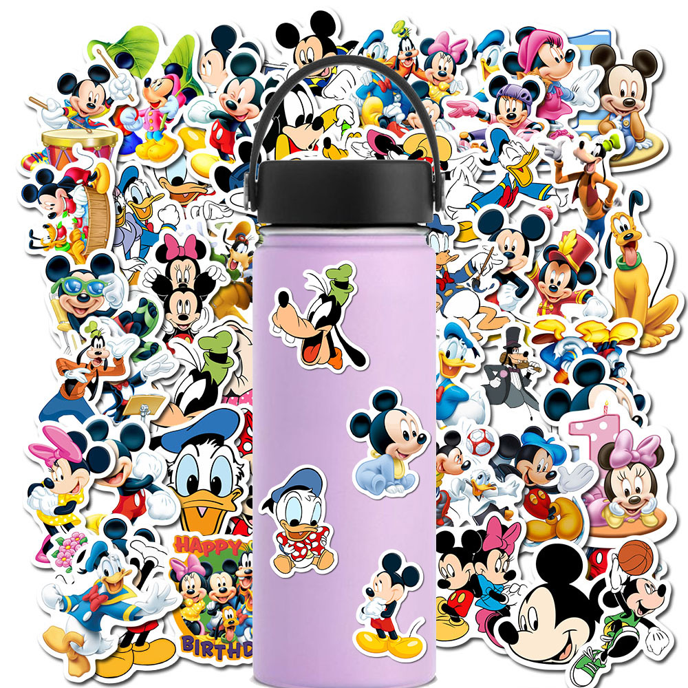 50Pcs Cartoon Mickey Mouse Waterproof Stickers Graffiti For Kids Laptop Skateboard Luggage Bicycle Children DIY Decal Sticker