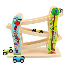 Childrens Toy Car Inertia Track Pulley With 3 Cars Wooden Building Blocks Baby Cartoon Ladder Gliding