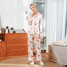 New summer and autumn silk pajamas set ladies new product long-sleeved trousers home wear two-piece sleepwear