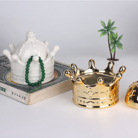 Ceramic Golden Crown Candy Storage Bottles Romantic Ring Jewelry Jar Lover Gift Wedding Decorations Bottles for Home Decor