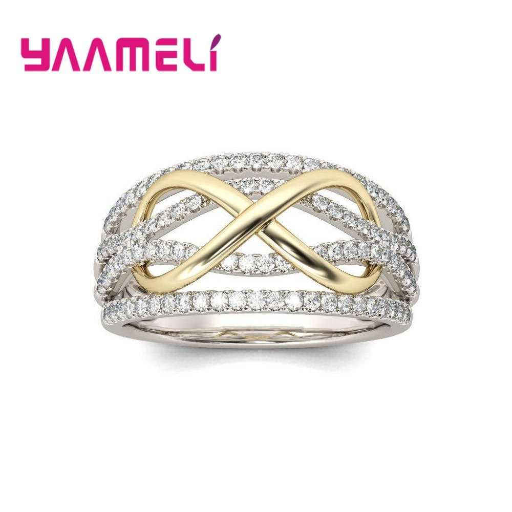 Anéis de prata esterlina 925 para mulheres, luxuosos, números vazados, 8, infinito, amor, joia, presente de dia dos namorados grande promoção