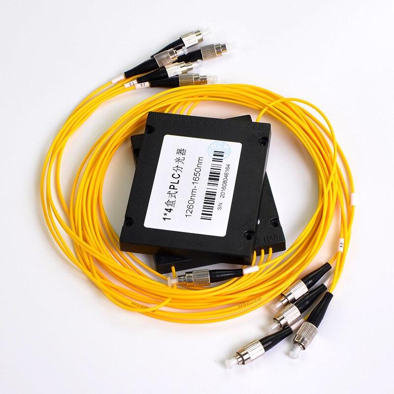 Optical Splitter 1x4 PLC FC/ UPC Fiber Optical Splitter Single Mode with FC/UPC Connector FTTH 1x4 PLC ABS Optic Splitter Box