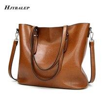 Women's Bag Oil Wax Women Leather Handbags Luxury Lady Hand