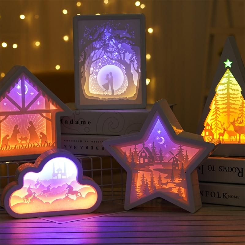 Creative 3D Paper Carving Night Lamp Bedside Bedroom Night Light Shadow Paper Carving Light Home Decoration Gift Table Lamp