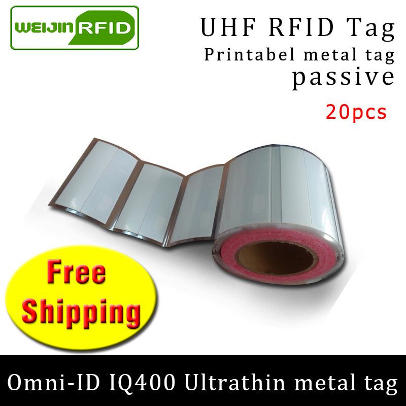 UHF RFID Ultrathin Metal Tag Omni-ID IQ400 915m 868m Impinj M4QT EPC 20pcs Free Shipping Printable Synthetic Passive RFID Label