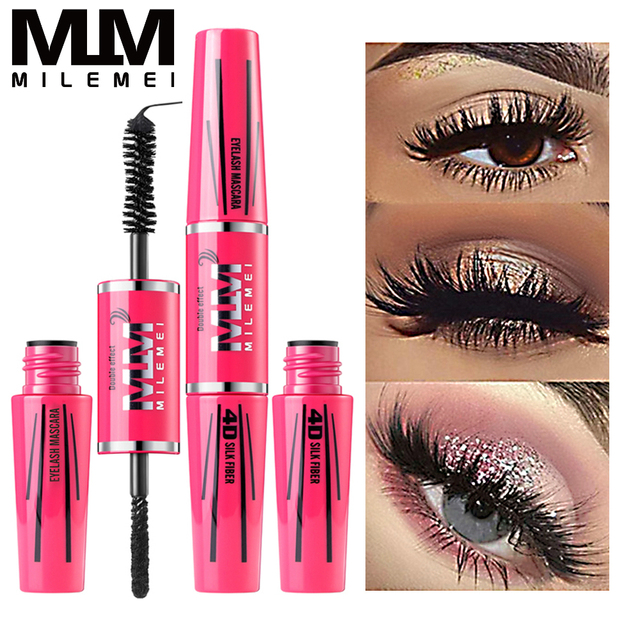 MILEMEI 4D Silk Fiber Eyelash Mascara Makeup Lengthening  Eye Lash Mascara Magic fiber Black Waterproof Eyelash Extension