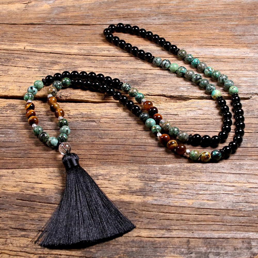 Ожерелье из натурального камня тигровый глаз с бусинами в японском стиле для женщин и девушек, длинное ожерелье с кисточками и йогой Japamala дл...