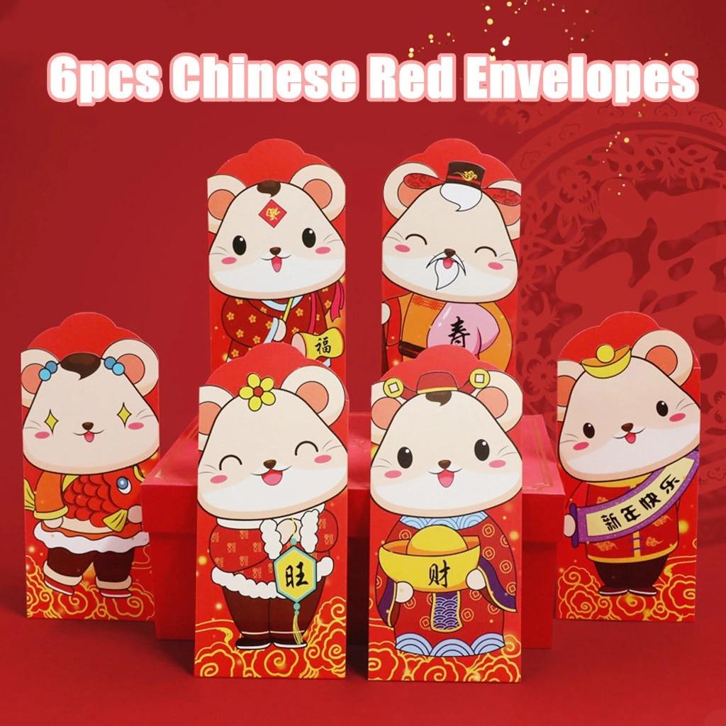dise/ño de rat/ón Chino Color Rojo 6 Sobres Rojos Chinos 2020 Victoy