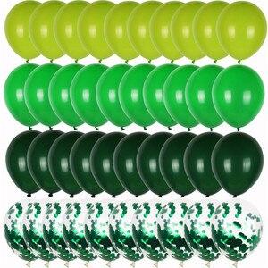 40 шт., набор зеленых воздушных шаров, оливковый воздушный шар, конфетти металлик, баллон, джунгли, сафари, животные, украшения для дня рождени...
