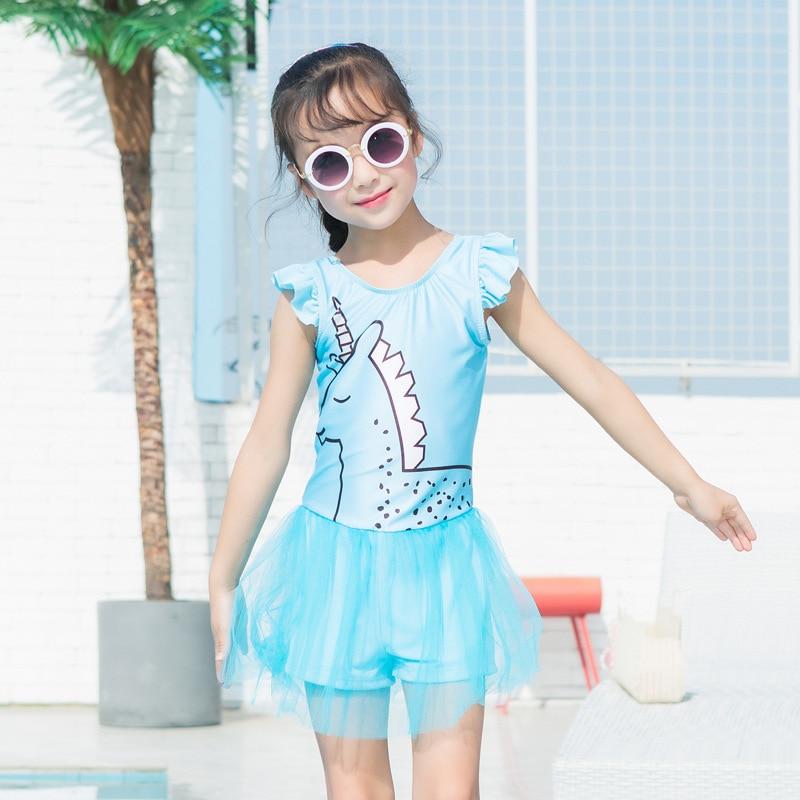 2019 New Style Unicorn KID'S Swimwear Online Celebrity GIRL'S One-piece CHILDREN'S Swimsuit Princess Dress-Swimwear Wholesale