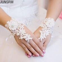 Короткие кружевные свадебные перчатки аксессуары с бисером