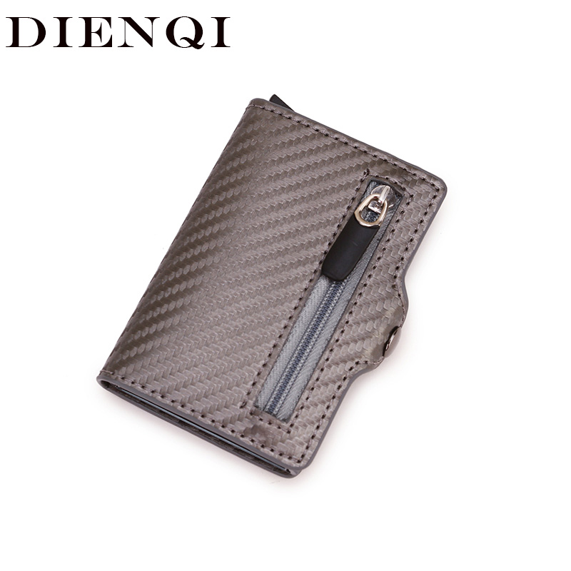 Carbon Rfid Card Holder Women Men Smart Wallets Slim Leather Trifold Coin Purse Money Bag Small Male Carteira Mini Walet Black