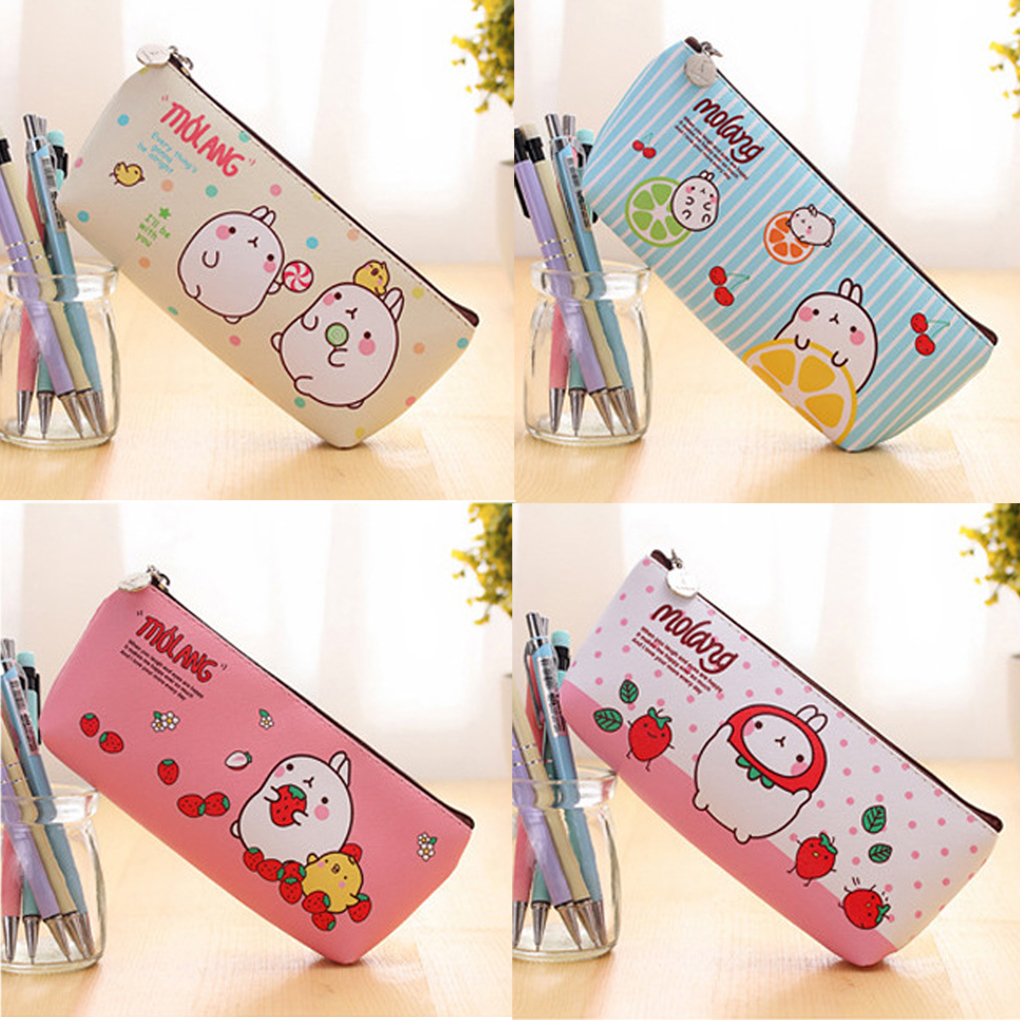 1Pcs Cute Molang Rabbit Cartoon Animals Pencil Case PU Leather Molang Rabbit Waterproof Storage Pen Bag Pencil Case Stationery