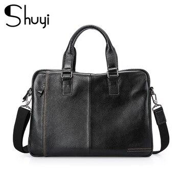 2020 New Natural Cowskin 100% Genuine Leather Men's Briefcase Fashion Large Capacity Business bag Black Male Shoulder Laptop Bag