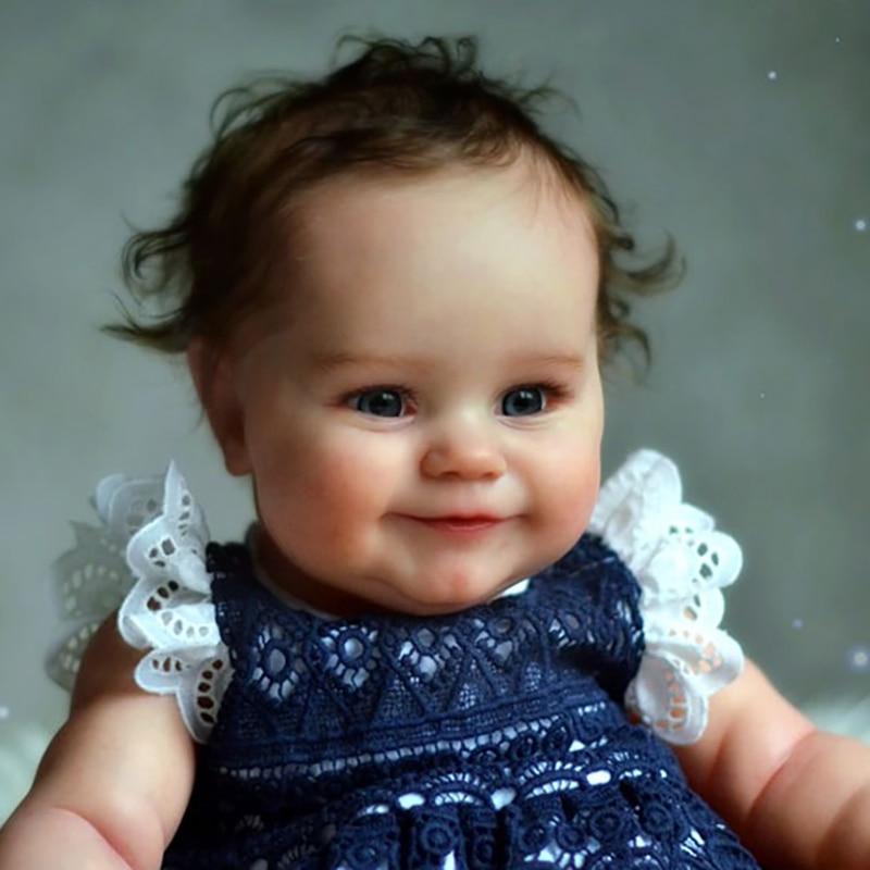 RSG Reborn Baby Puppe 20 Zoll Lebensechte Newborn Smiley Mädchen Maddie Vinyl Unlackiert Unfinished Puppe Teile DIY Blank Puppe Kit