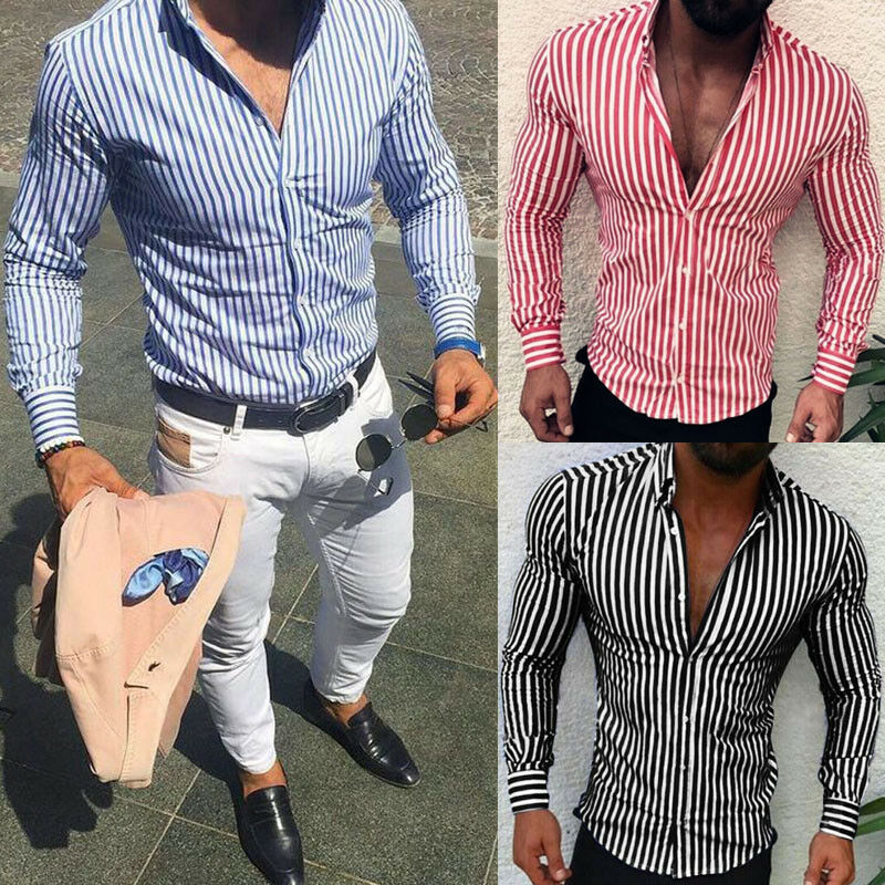 Men's Casual Shirt Slim Fit Men's Casual Striped Shirt Long Sleeve Formal Dress Shirts Men Male Clothing Camisa 4