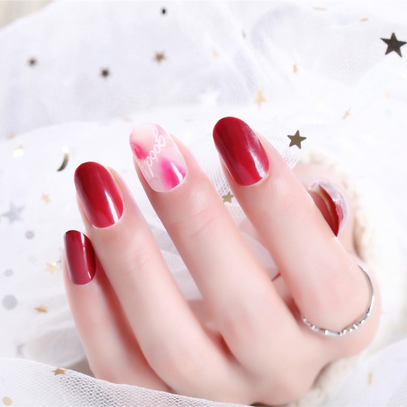 Wear-Fake Nails Manicure Stickers Nail Tip Nail Tips Wine Red Smudge Lettered Bride Manicure 296