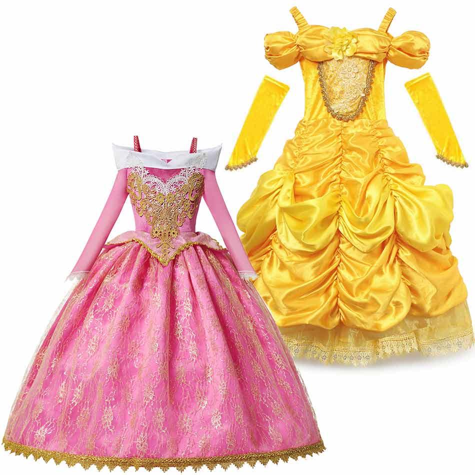 2020 vestido de festa de natal para meninas 2 3 4 6 8 10 anos rosa floral bola vestido amarelo luxo vestidos princesa belle aurora dressup