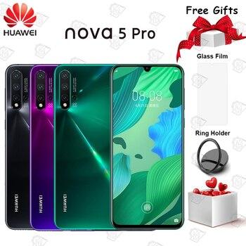Перейти на Алиэкспресс и купить Оригинальный Huawei Nova 5 pro мобильный телефон 6,39 дюймов 8 Гб 128 ГБ Kirin 980 Восьмиядерный Android 9,0 3500 мАч 48.0MP Carmera смартфон
