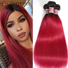 Ombre Red Burgundy Straight Bundles Hair Brazilian Remy 100%Human Hair 99J Brown Color 1/3/4 Bundles Extensions Weaving EUPHORIA