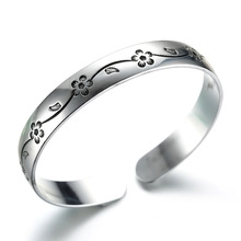 New Silver Plated Jewelry Bangle for Women Floral Carved China Style Adjustable Indian Jewelry Wholesale Bracelet цены