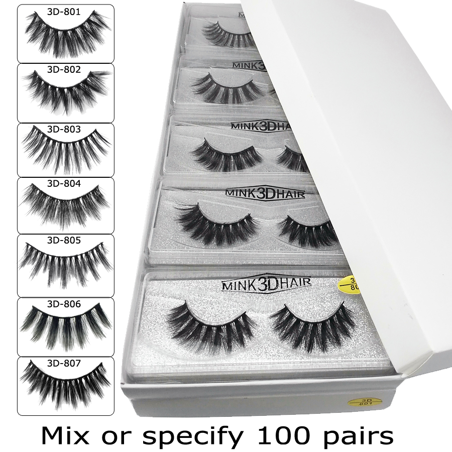 Wholesale Mink Eyelashes 20/30/50/100 Pairs 3d Mink Lashes Eyelash Extension Natural False Eyelashes Makeup Fake Lashes Bulk