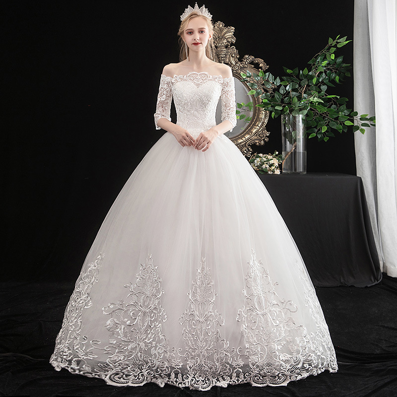 2019 Rushed 2020 New Style One Shoulder Middle Sleeve Korean Bride Qi Di Large Wedding Dress Show Thin Female Summer And Autumn
