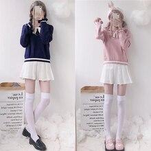 Top Lolita-Top Navy-Collar Long-Sleeve College-Style Girl Vintage Sweet Cute Kawaii Student-Sweater