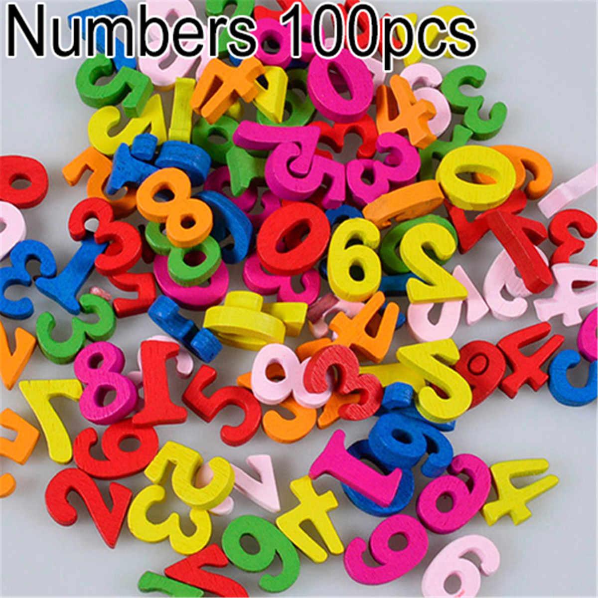 Новое поступление 100 шт цветные буквы цифры деревянные плоские украшения ремесла инструмент Детские игрушки для младенцев образование