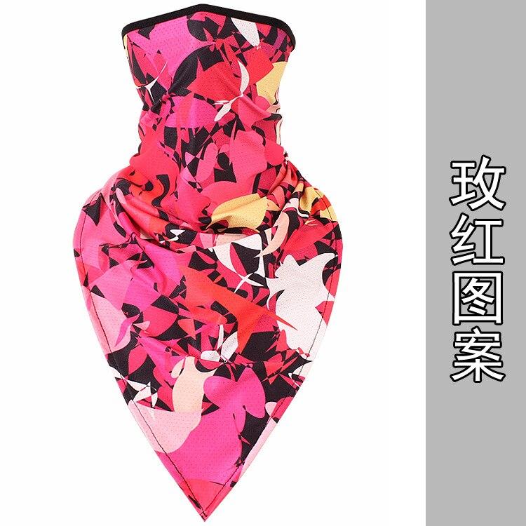 Новое ледяное шелковое треугольное полотенце крутой дышащий платок на голову воротник Мужская и женская маска от Солнца маска ошейник - Цвет: Rose red pattern