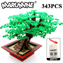 Marumine Moc Bouwstenen Bricks Miniatuur Boom Set 205/343 Stuks Plant Accessoires Gras Onderdelen Blokken Decoratie Moc Model
