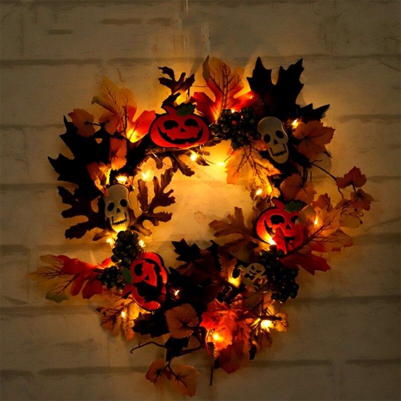Artificial dia das bruxas grinalda porta da frente pendurado garland decorações de casa de férias (com bateria alimentado led luz string) - 6