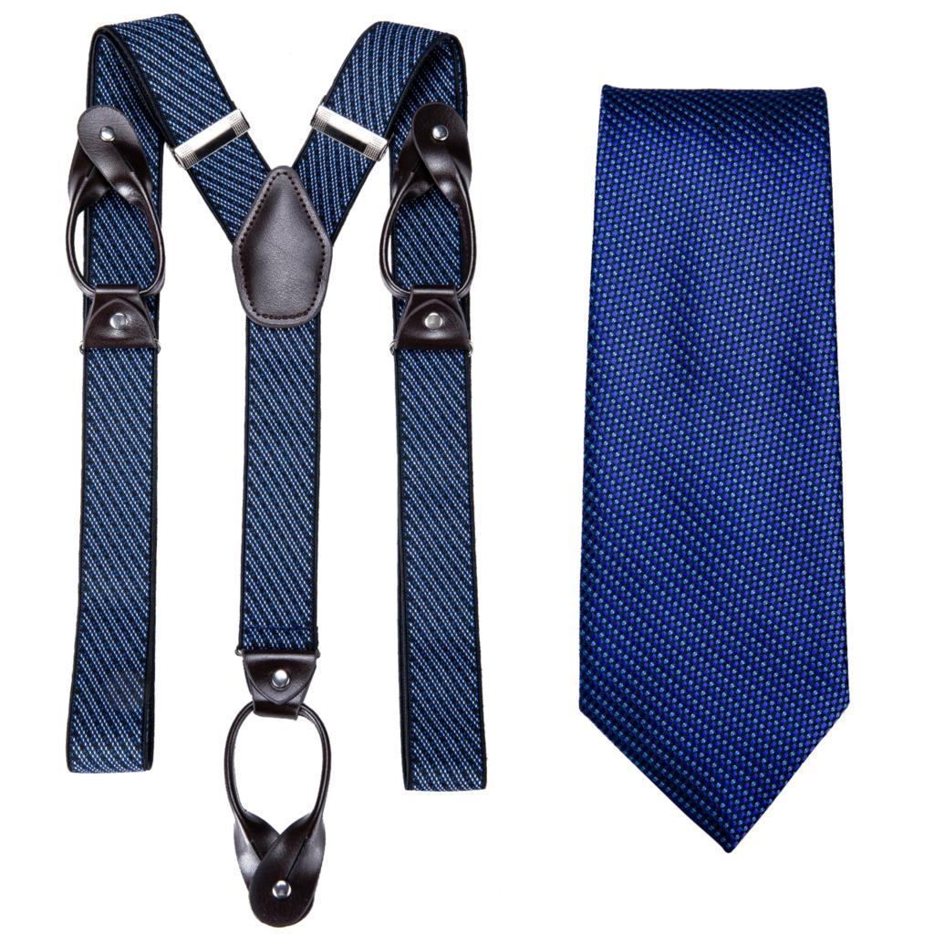 Navy Blue Mens Suspender Leather 6 Button Brace Strap Fashion Suspensorio Tie Set Adjustable Ligas Tirantes DiBanGu JZ514-7160