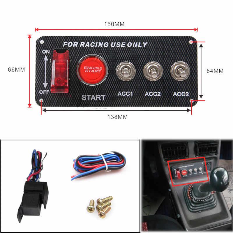 interruptor de encendido 12 V Panel interruptor de arranque de motor bot/ón de arranque interruptor de palanca motor para coche de carreras