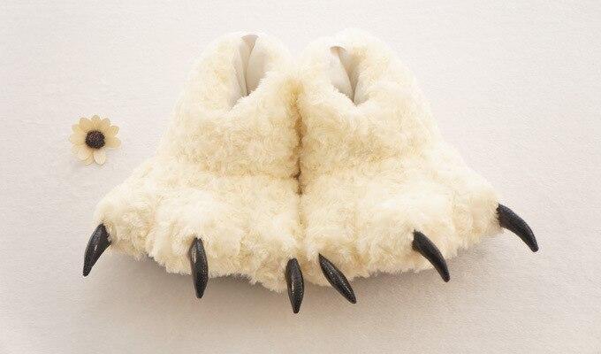 Зимние теплые мягкие домашние тапочки для Хэллоуина; женская, мужская и детская обувь; Плюшевые тапочки в виде лап забавного животного, рожд