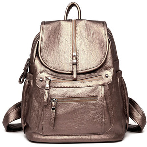 Image 2 - Women High quality leather Backpacks Vintage Female Shoulder Bag Sac a Dos Travel Ladies Bagpack Mochilas School Bags For Girls
