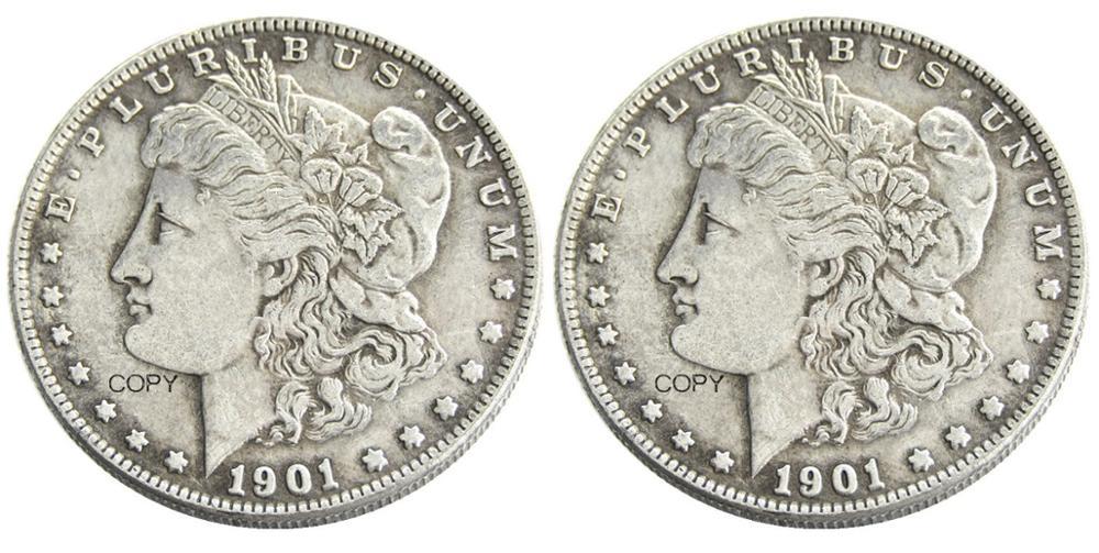 США 1901/1901 два лица Морган доллар Посеребренная копия монеты