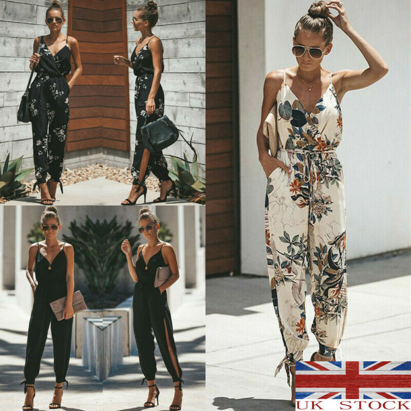 Fashion Women's Jumpsuits Summer Casual Solid Sleeveless V-Neck Slim Plus Size Linen Lace Up Long Jumpsuit