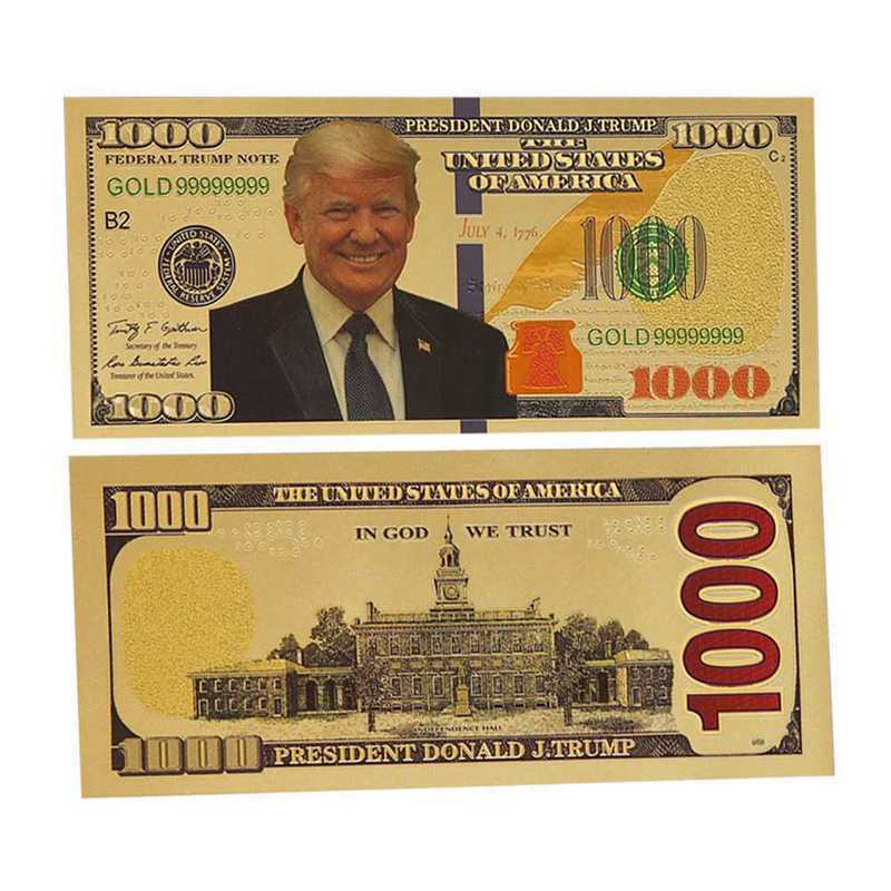 1pc USA Gold Foil Banknotes $1000 Dollars Trump Collection Paper Money Bill